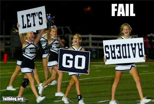 cheerleaders failboat g rated school spirit signs upside down