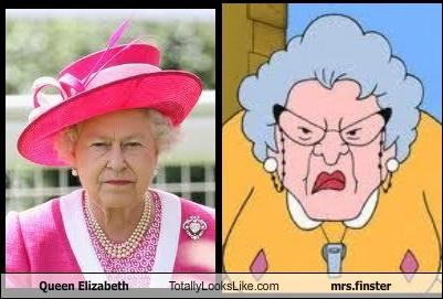 British,cartoons,mrs-finster,Queen Elizabeth II,recess,royalty