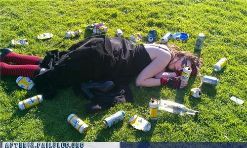 beer,drunk,field,outdoors,passed out