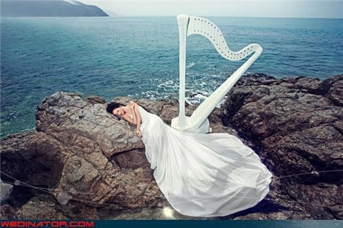 beach,bride,funny wedding photos,harp