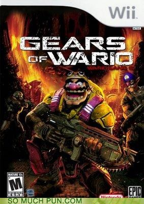 combination franchise Gears of War juxtaposition literalism mario photoshop title video game wario