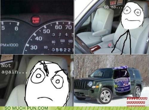 ajar car comic door door ajar FFFUUUU light literalism rage Rage Comics warning warning light - 4648711680