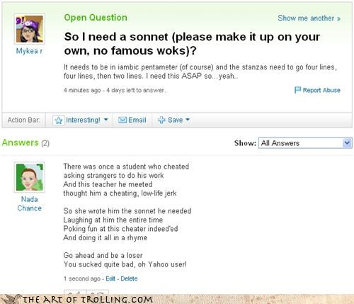 school shakespeare sonnets sucky yahoo Yahoo Answer Fails