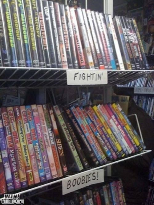 boobs,dvds,fighting,genres,labels,signs