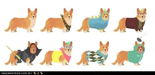 clothes,corgis,costume,drawing,dressup