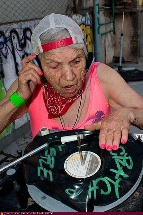 dj,old lady,record,sweet