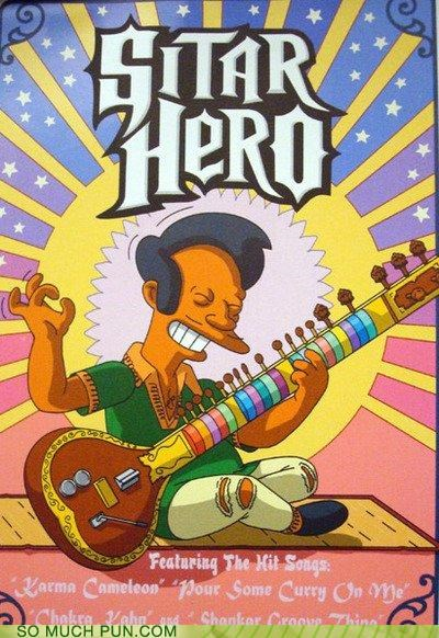 apu,guitar,Guitar Hero,hero,literalism,sitar,the simpsons,video game