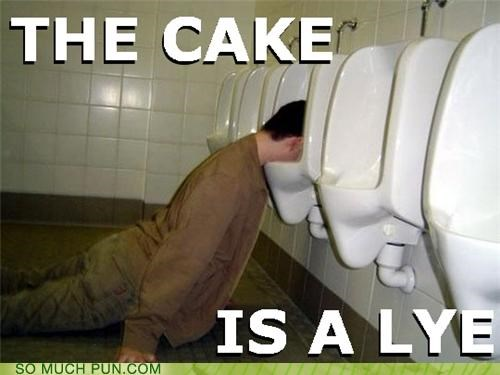 cake,double meaning,homophone,lie,lye,Portal,urinal,urinal cake,video game