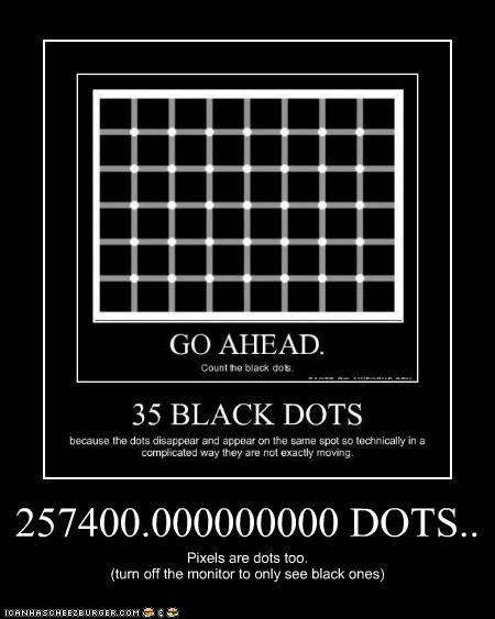 257400.000000000 DOTS.. Pixels are dots too. (turn off the monitor to only see black ones)