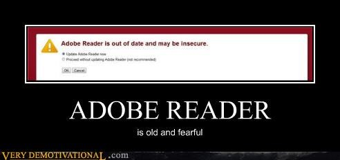 ADOBE READER is old and fearful