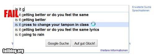 Autocomplete Me class failboat google gross inappropriate internet tampon