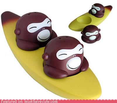 banana banana boat boat monkeys salt and pepper seasoning shakers tableware - 4651209984