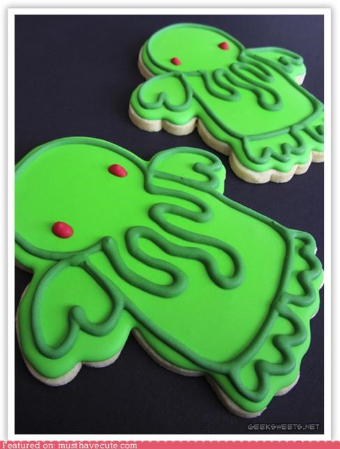 cookies cthulhu epicute eyes green icing red tentacles - 4651332352