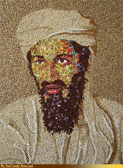 art beard cereal edible Osama Bin Laden portraits