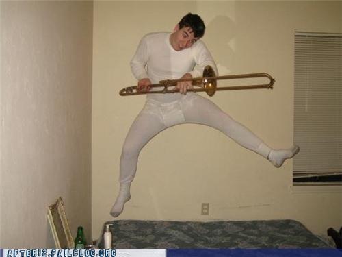 dancing,drunk,long johns,trombone