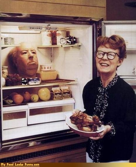 alfred hitchcock,fridge,head,kitchen,laughing,woman
