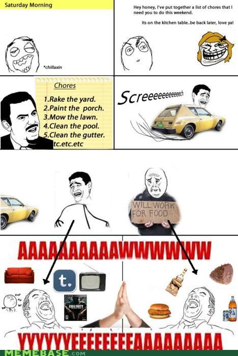 aw yeah chores friends Rage Comics wives - 4652647936