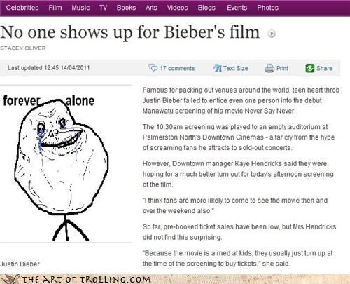 Bieber film IRL movies never say never