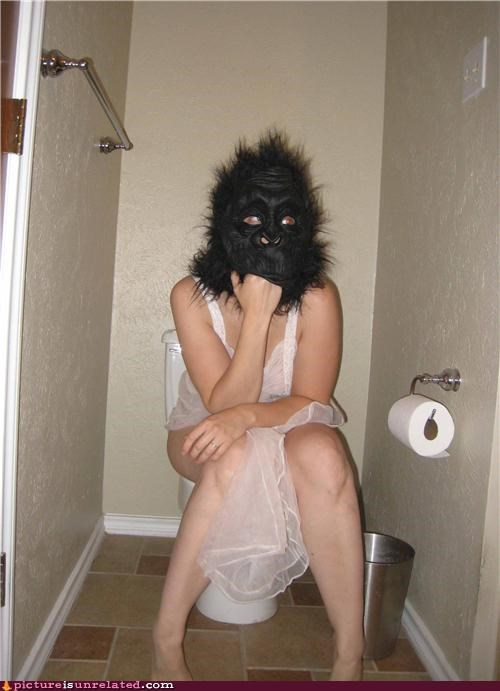 bathroom,gorilla,mask,potty