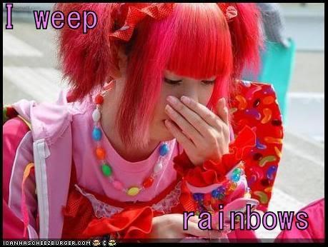 rainbow,sad face,weep