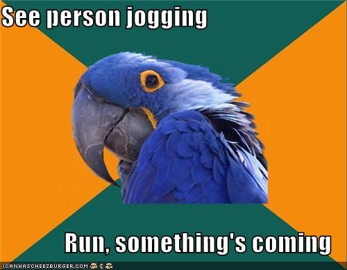 invisible,jogger,Paranoid Parrot,run,running