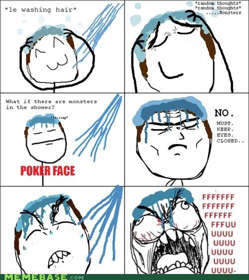 fear hair monster Rage Comics shower washing - 4655053312