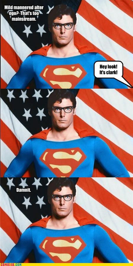 Clark Kent,glasses,hipster,mainstream,superman,the internets