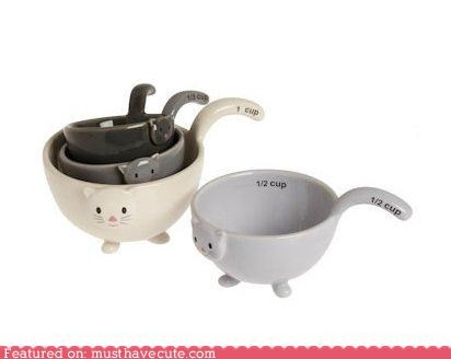 cat ceramic cooking kitchen kitty measuring cups - 4655375872