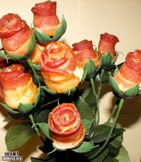 awesome,bacon,delicious bacon,flowers,roses