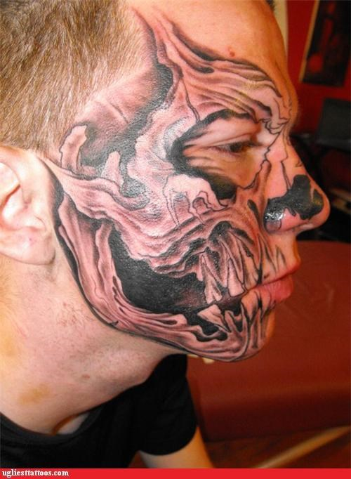 tattoos face tats skulls funny - 4655655424
