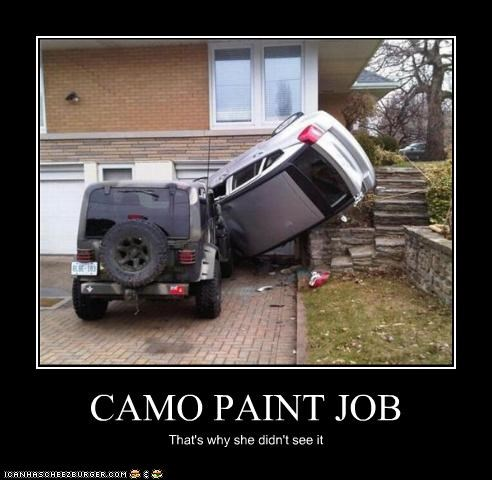 CAMO PAINT JOB That's why she didn't see it