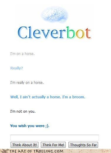 bot,broom,Cleverbot,horse,naughty
