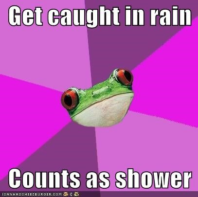 Counts,foul bachelorette frog,rain,shower