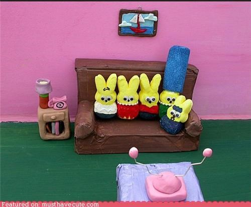 bunnies,couch,living room,marshmallow,peeps,simpsons,st,TV