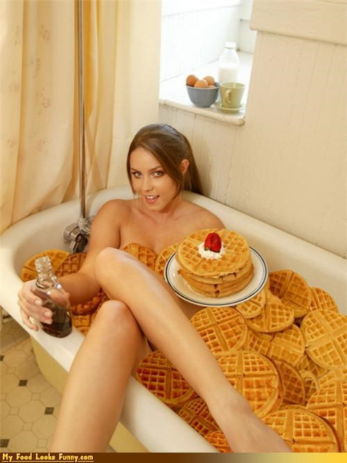 bath thub,breakfast,girl,syrup,waffles