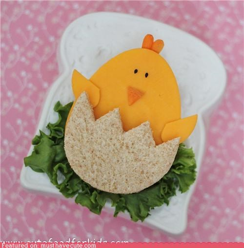 bread,carrot,cheese,chick,easter,epicute,ham,lettuce,sandwich