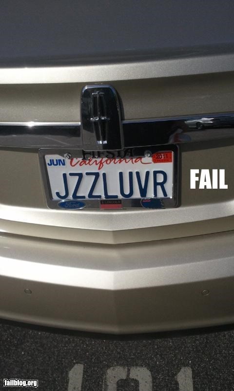 innuendo letters license plate oops probably meant Jazz - 4657986560