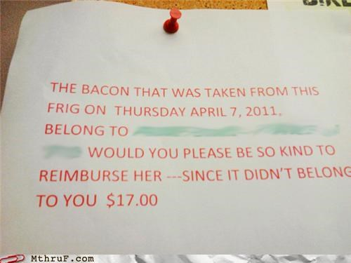 bacon,note,steal,theft