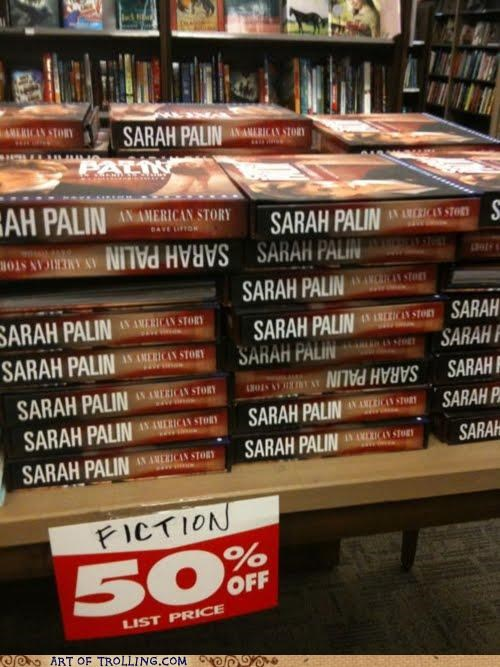 books,fiction,food,IRL,million little pieces,Sarah Palin