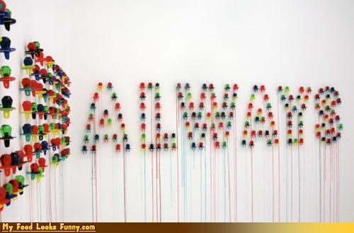 always art colorful dripping ring pops wall word