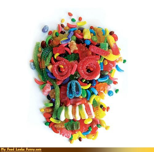art,candy,gummies,sculpture,skull