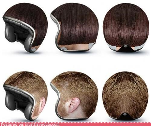 hair helmet motorcycle print safety tricky