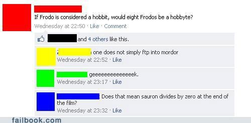 Lord of the Rings,nerd,puns,technology,tolkien,witty reply