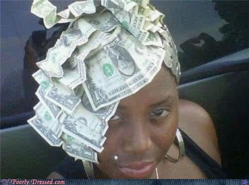dollar bills haircut money piercings wtf - 4658832384