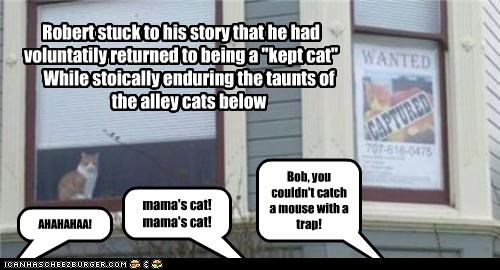 "Robert stuck to his story that he had voluntatily returned to being a ""kept cat"""