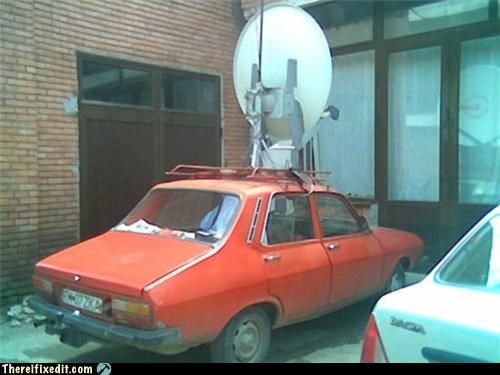 cars duct tape Mad Science Monday satellite dish wtf - 4659999232