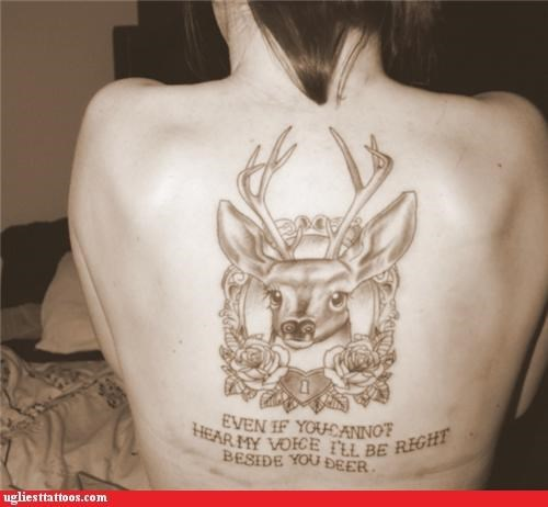 voices,tattoos,deers,funny,g rated,Ugliest Tattoos