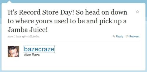 Alex Baze,Record Store Day,SNL,tweet