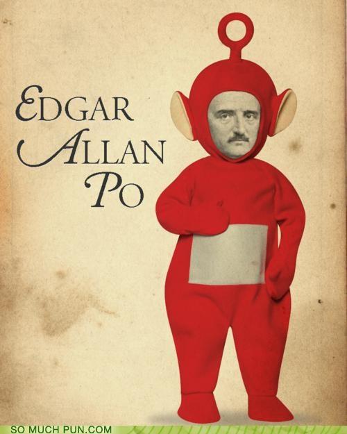 creepy,Edgar Allan Poe,juxtaposition,literalism,mashup,Po,poe,teletubbies