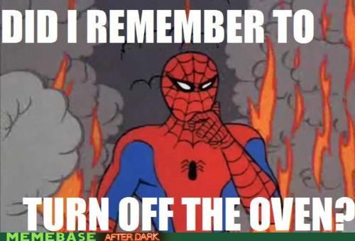 dangerous,fire,forgot,oven,Spider-Man,Super-Lols